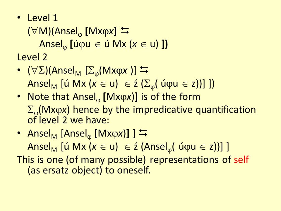 Level 1 (M)(Ansel [Mxx]  Ansel [úu  ú Mx (x  u) ]) Level 2. ()(AnselM [(Mxx )]  AnselM [ú Mx (x  u)  ź (( úu  z))] ])